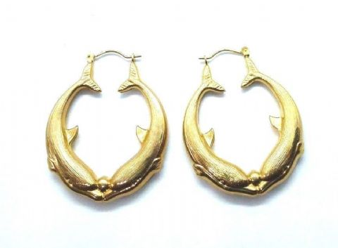 Large 9ct Yellow Gold Hallmarked Vintage Dolphins with Ball Creole Hoop Earrings